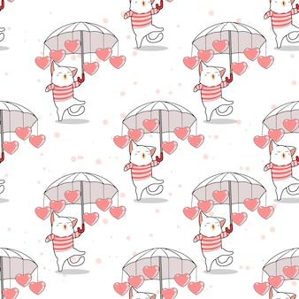 Gato sem costura e guarda-chuva com padrão de coração