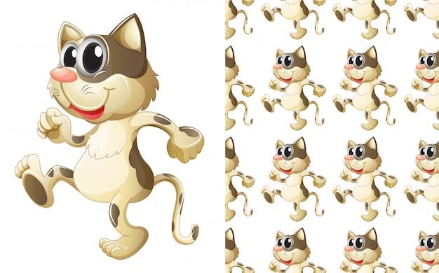 Gato sem costura padrão animal dos desenhos animados