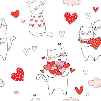 Gato sem costura padrão com coração vermelho para dia dos namorados