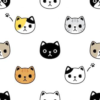 Gato sem costura padrão gatinho cabeça rosto cartoon animal de estimação
