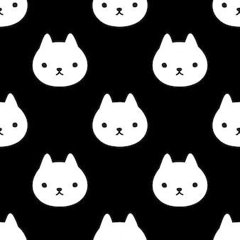 Gato sem costura padrão gatinho cabeça rosto cartoon animal ilustração