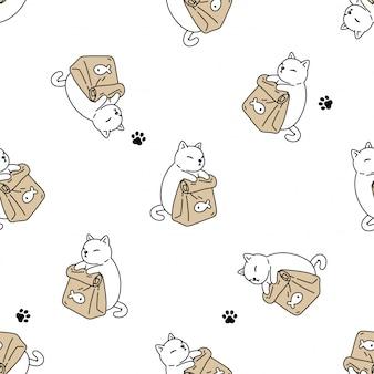 Gato sem costura padrão gatinho comida pata pegada animal de estimação dos desenhos animados
