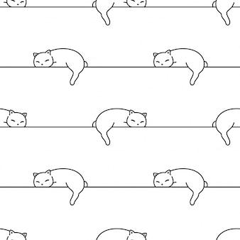 Gato sem costura padrão gatinho dormindo ilustração dos desenhos animados