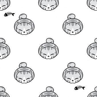 Gato sem costura padrão gatinho dos desenhos animados
