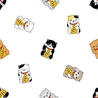Gato sem costura padrão gatinho japão maneki neko gato de sorte cartoon animal de estimação ilustração