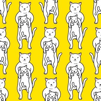 Gato sem costura padrão gatinho mulher ilustração