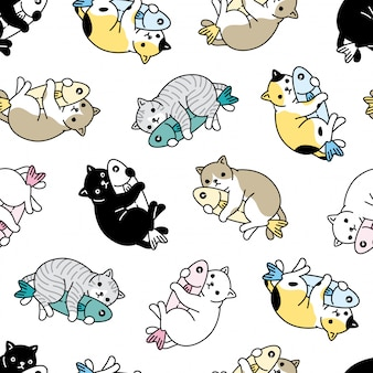 Gato sem costura padrão gatinho peixe abraço dos desenhos animados