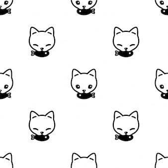 Gato sem costura padrão gatinho peixe dos desenhos animados