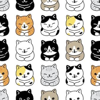 Gato sem costura padrão gatinho raça cartoon ilustração