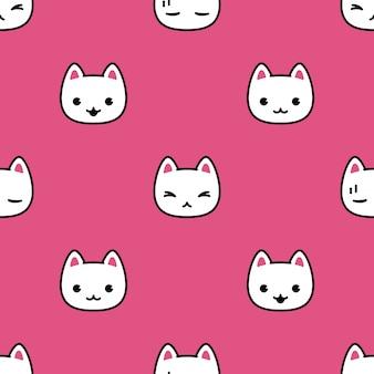 Gato sem costura padrão gatinho rosto dos desenhos animados