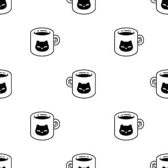 Gato sem costura padrão gatinho xícara de café dos desenhos animados