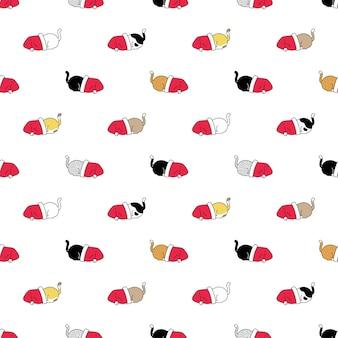 Gato sem costura padrão natal chapéu de papai noel gatinho