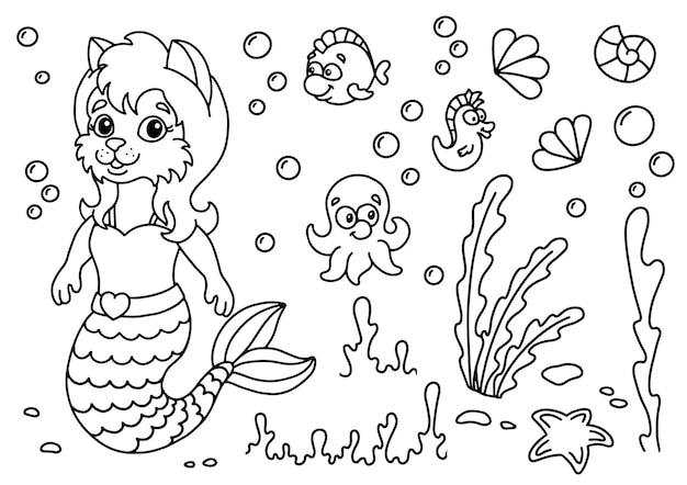 Gato sereia fofa no mundo subaquático. página do livro para colorir para crianças