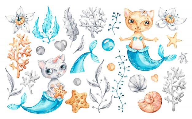 Gato sereia unicórnio bebê menina cute. berçário em aquarela dos desenhos animados animais marinhos, vida marinha mágica.