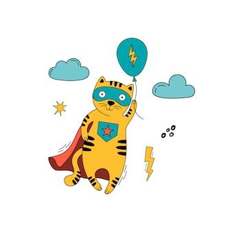Gato super-herói em uma fantasia de quadrinhos voando com um balão de ar.
