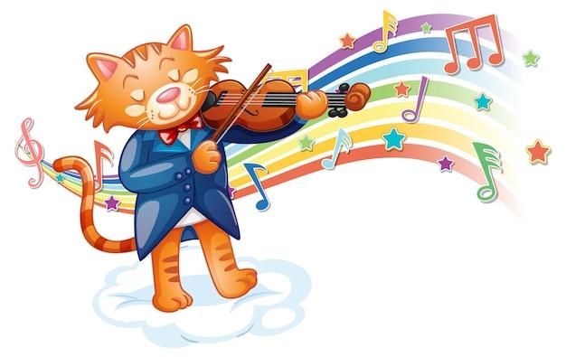 Gato tocando violino com símbolos de melodia na onda do arco-íris