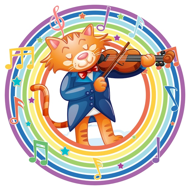 Gato tocando violino em moldura redonda de arco-íris com símbolos de melodia
