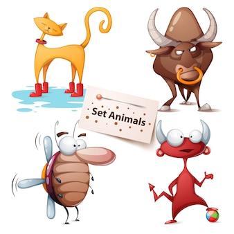 Gato, touro, barata, diabo - conjunto de animais