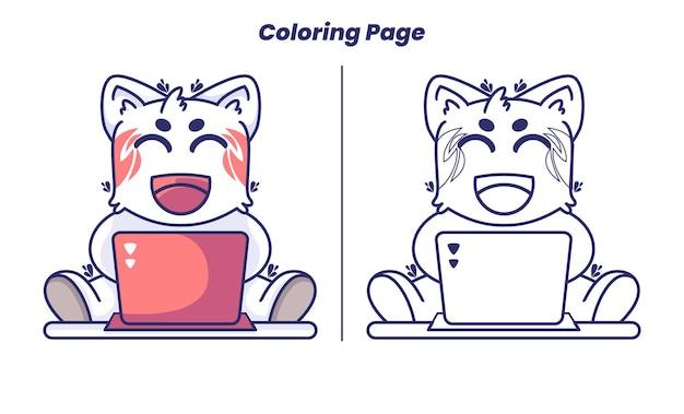 Gato trabalhando com laptop com página para colorir