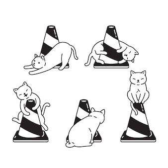 Gato tráfego cone gatinho personagem de desenho animado