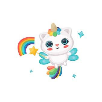 Gato unicórnio bonito dos desenhos animados com asas de fada e arco-íris