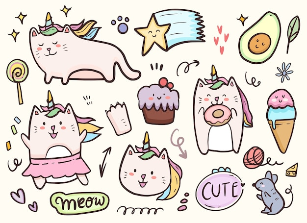 Gato unicórnio brincando com bolo e rosquinhas desenhando coleção de doodle
