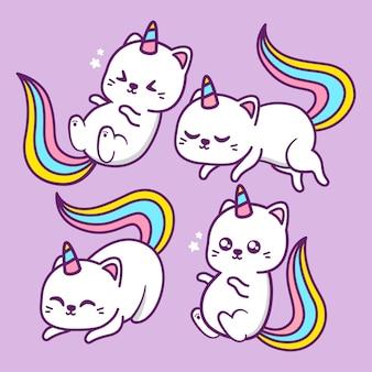 Gato unicórnio fofo em diferentes poses
