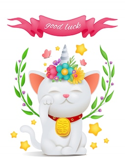 Gato unicórnio personagem de desenho animado maneki neko com título de boa sorte.