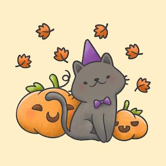 Gato usando chapéu e gravata borboleta com abóboras e folhas