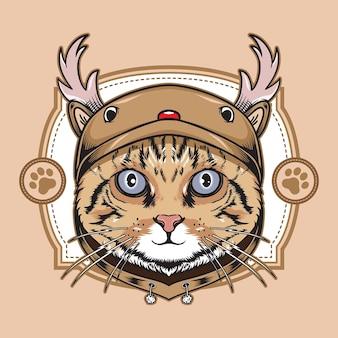 Gato usando ilustração de capuz fofinho de cervo de natal