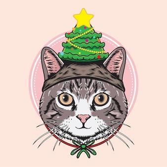 Gato usando ilustração de chapéu de pinheiro de natal