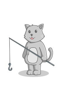Gato vai pescar desenho animado