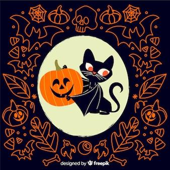 Gato vampiro com abóbora plana fundo halloween