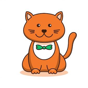 Gato vermelho bonito, arte linear dos desenhos animados, esboço animal. ilustração vetorial