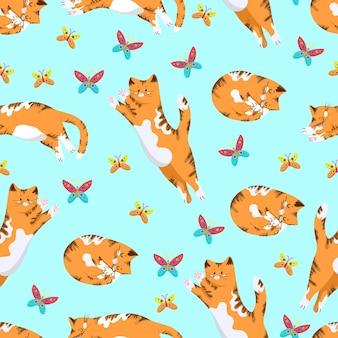 Gato vermelho pula para uma borboleta colorida desenho à mão de padrão sem emenda