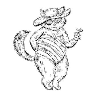 Gato vestido com maiô, chapéu de praia, óculos e segurando um coquetel com guarda-chuva. ilustração em vetor vintage preto incubação isolada no branco. elemento de design desenhado à mão para camiseta, pôster