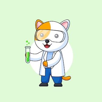 Gato vestindo jaleco branco e óculos carregando ilustração de líquido químico verde