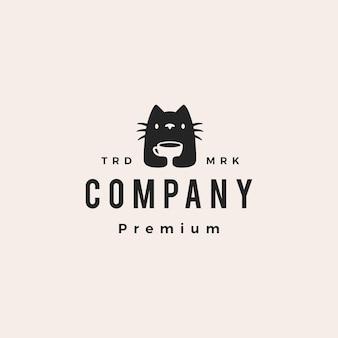 Gato xícara de café café bebida hipster ilustração em vetor logotipo vintage