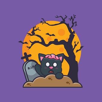 Gato zumbi ascensão do cemitério ilustração fofa dos desenhos animados do dia das bruxas