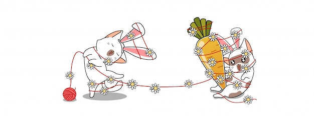 Gatos adoráveis coelhinho gostam de comer cenouras