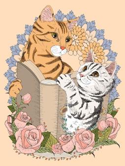 Gatos adoráveis com livro e decorações florais para colorir página adulta