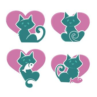 Gatos adoráveis dos desenhos animados, meus animais de estimação favoritos, coleção de vetores