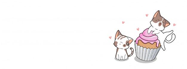 Gatos adoráveis e bolo em tempo feliz