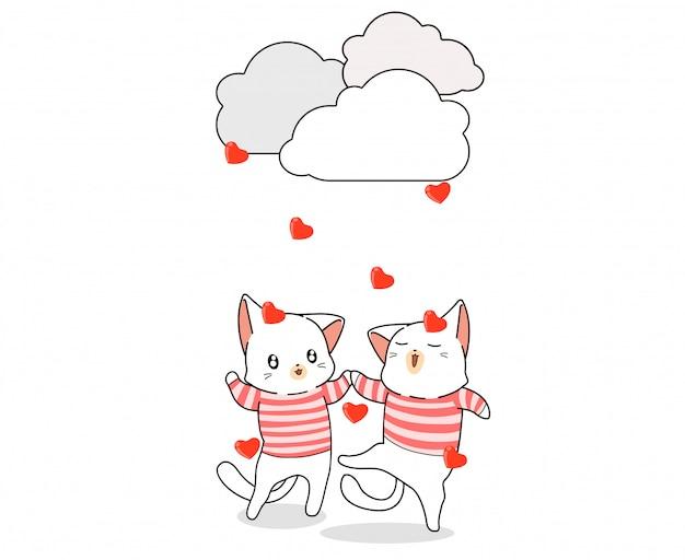 Gatos adoráveis e coração chovendo