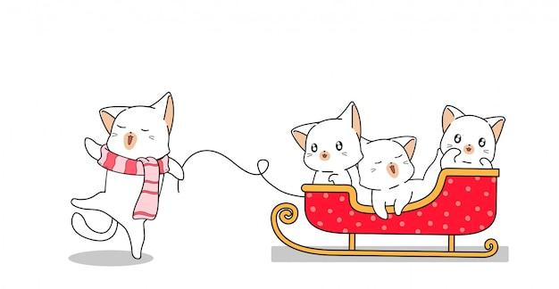 Gatos adoráveis está arrastando veículo de trenó com os amigos