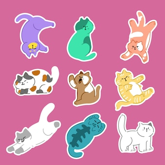 Gatos adoráveis pose b gesto vector doodle. melhor para etiqueta, decoração, impressão