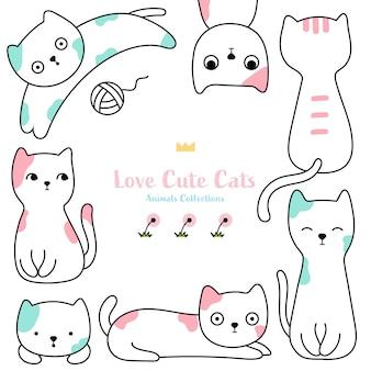 Gatos bonitos animal desenhado à mão estilo