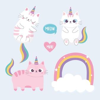 Gatos bonitos arco-íris chifre nuvem cartoon animal personagem engraçada
