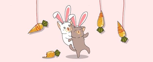 Gatos bonitos coelhinho estão pegando cenouras