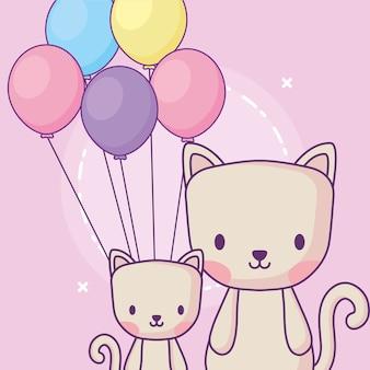 Gatos bonitos com balões